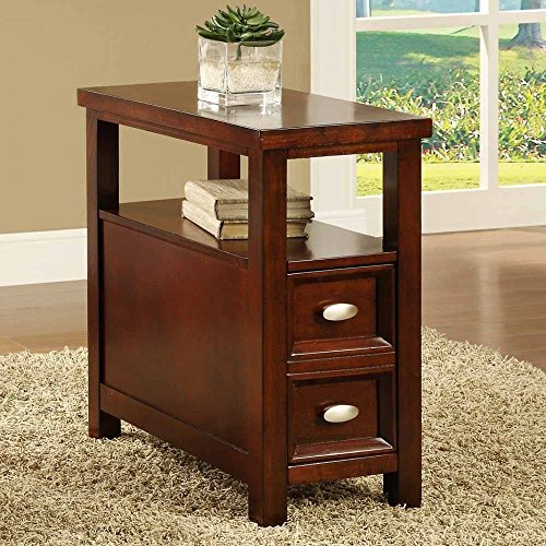 New Crownmark Dempsey Chairside End Table Cherry Finish Wood (Cherry Living Room End Table)