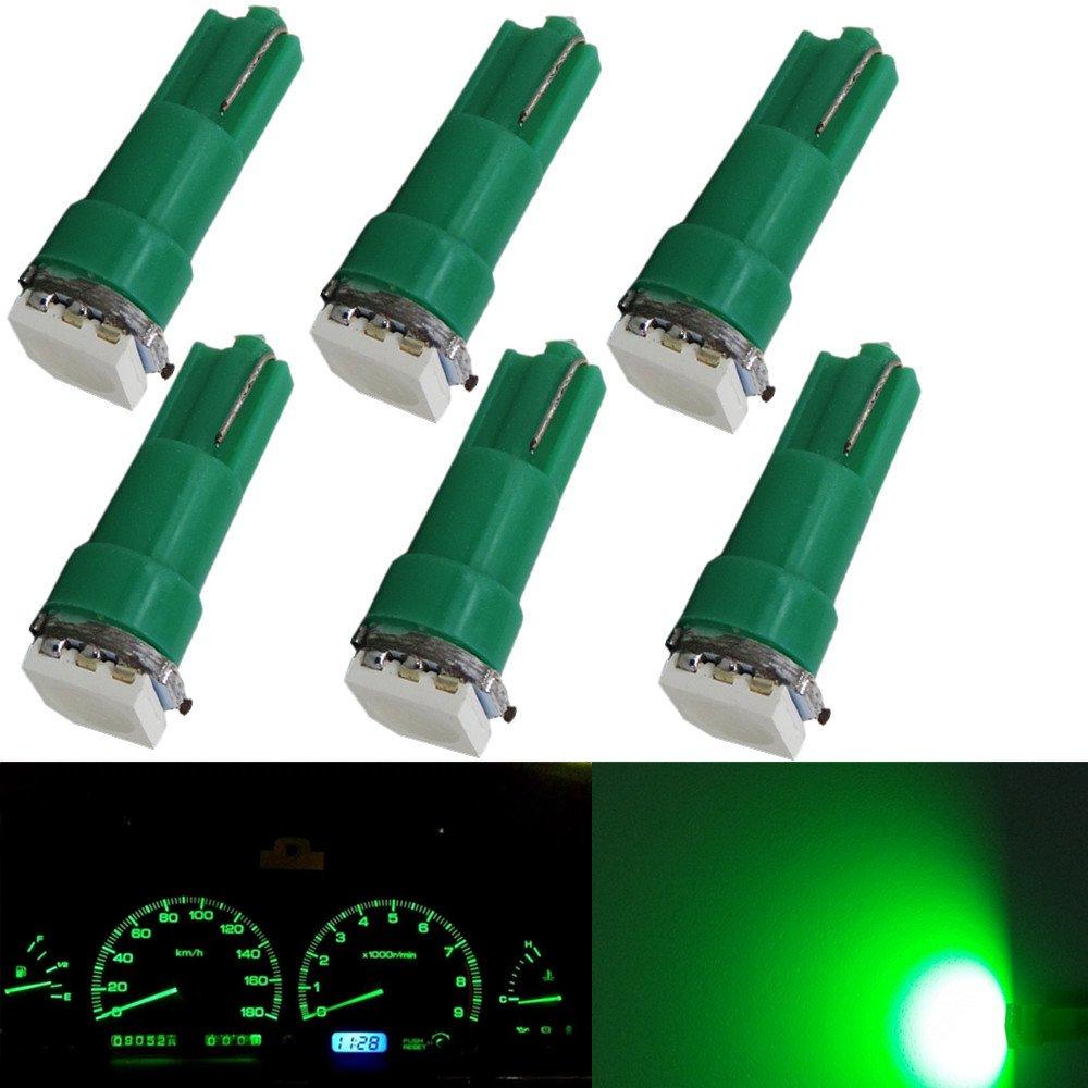 WLJH 6X T5 5050 SMD Green Bulb 37 70 2721 1-5050SMD LED Bulbs Dashboard Dash Gauge Instrument Panel Gauge Cluster Light, Plug and Play