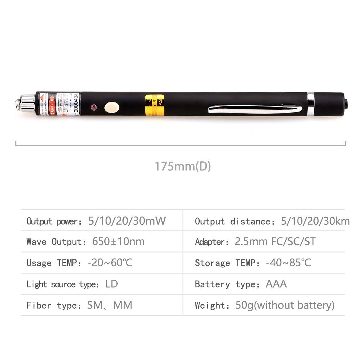 5/mW 5/km di portata 2,5 mm Penna portatile per la rilevazioni di problemi sulle linee in fibra ottica connettore universale con adattatore FC-LC per cavi per telecomunicazioni CATV 3