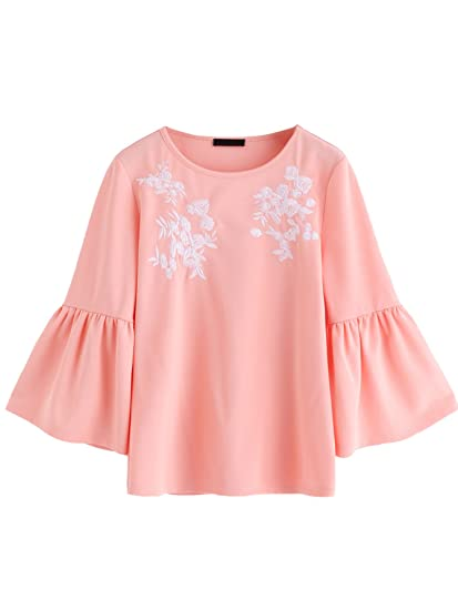 a5a187849a1d85 ROMWE Women's Cute Round Neck Embroidered Bell Sleeve Blouse Top Pink XS