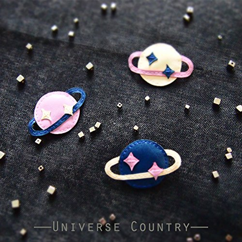 Asteroid planet Saturn custom hand-ed leather brooch badge --- [universe kingdom] original design handmade