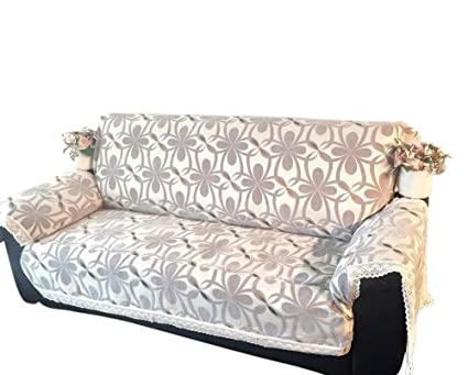 Ofit Thick Grey Chenille with cotton lace Sofa Throw Cover , Loveseat,  Armchair Slipcovers Furniture Protector (loveseat)