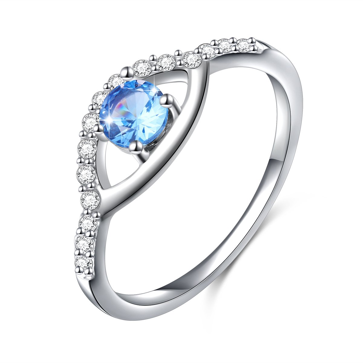 SILVER MOUNTAIN Turkey Jewelry 925 Sterling Silver Blue Evil Eye Ring for Women Size 7