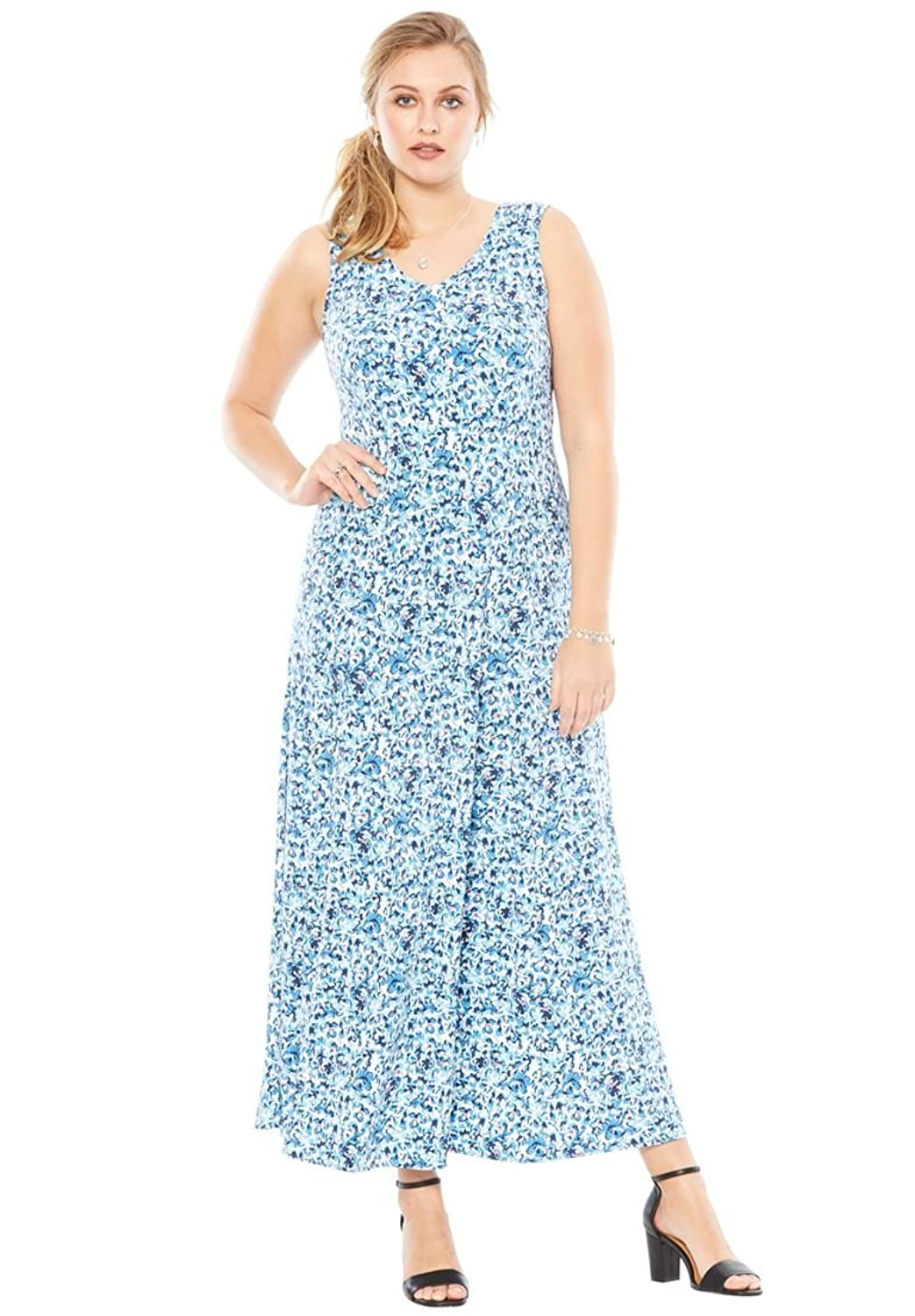 Roamans Women's Plus Size V-Neck Flared Maxi Dress