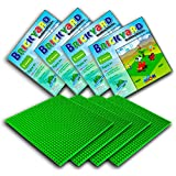 [Improved Design] 4 Green Baseplates, 10 x 10 Large Thick Base Plates for Building Bricks by Brickyard Building Blocks, for Activity Table or Displaying Compatible Construction Toys (4-Pack, Green)