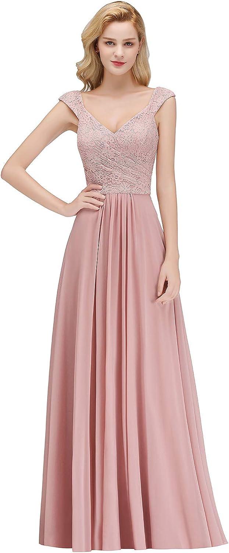 Damen Elegant A-Linie Spitzen Abendkleid Ballkleid Brautjungfernkleid lang  EU 12-12