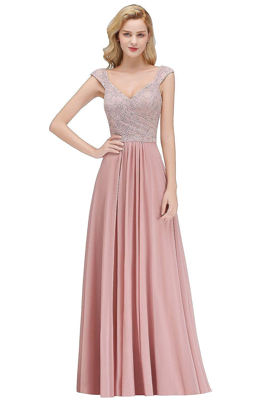 Babyonlinedress® Elegant Damen Ärmellos Rosa Brautjungfernkleid Abendkleid Ballkleid Lang EU 32-46