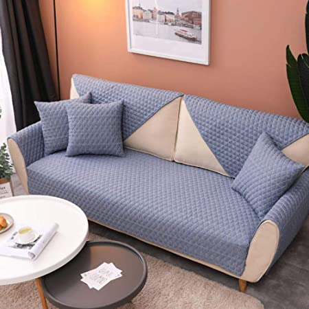 DUANGONGZI Fundas De Sofa 3 Plazas,Polvo De Algodón Púrpura A Cuadros Simple Sala De Estar Combinación Reposabrazos Conjunto De Sofás Chaise Plaid Azul/90 * 180Cm(1 Piezas): Amazon.es: Hogar