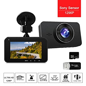 Dash Cam Dashboard Recording, 3 Inch Screen Super HD 1296P Night Vision Vehicle Driving Video Recorder with Sony Sensor 170 Degree Wide Angle Lens,G-Sensor,Parking Monitoring, Loop Recording,WDR