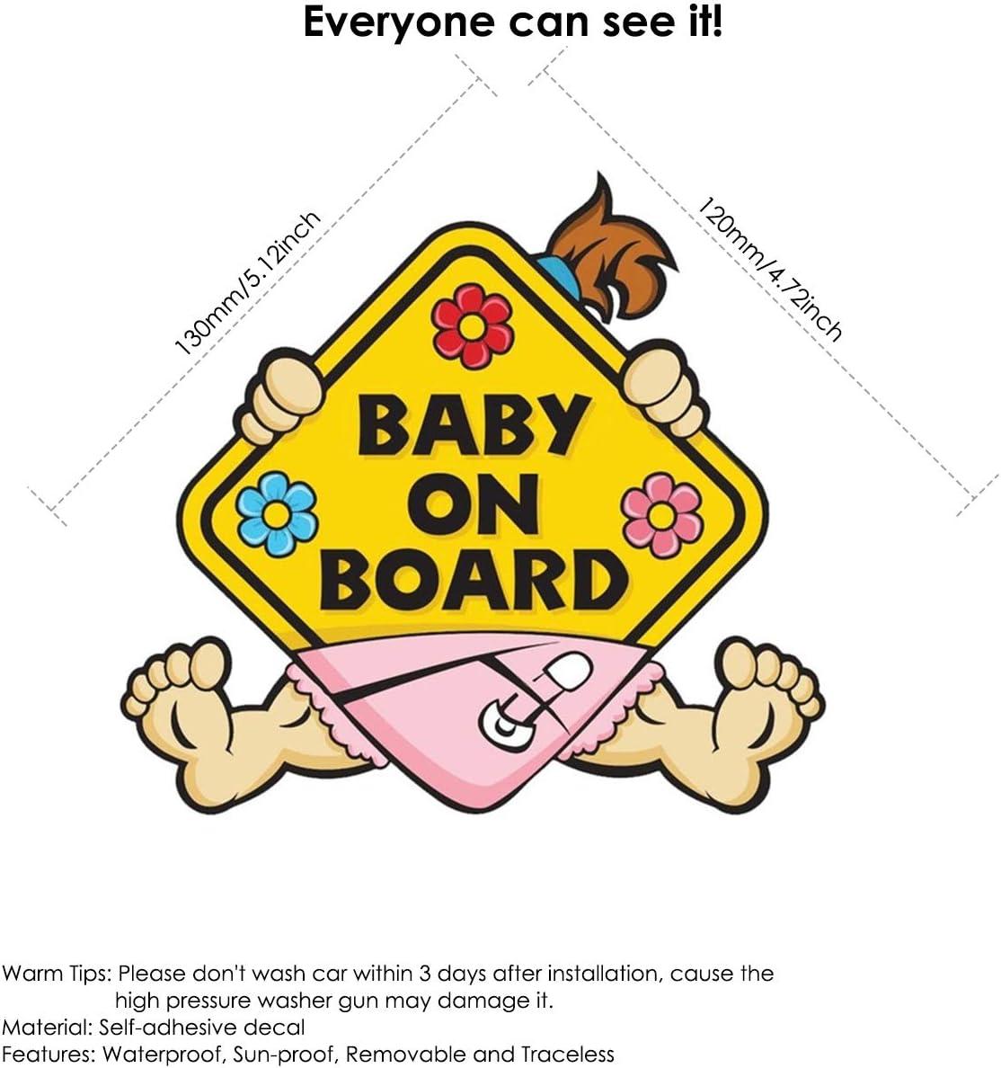 Chennie Baby An Bord Aufkleber Auto Vorsicht Aufkleber Aufkleber Sicherheitszeichen Selbstklebende Abnehmbare Wasserdichte Auto Sicherheitszeichen Aufkleber Pattern Baby Girl Küche Haushalt