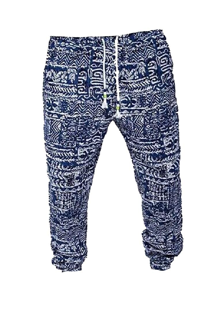 Gocgt Mens Floral Print Trousers Sweatpants Elastic Waist Creative Jogger Pants
