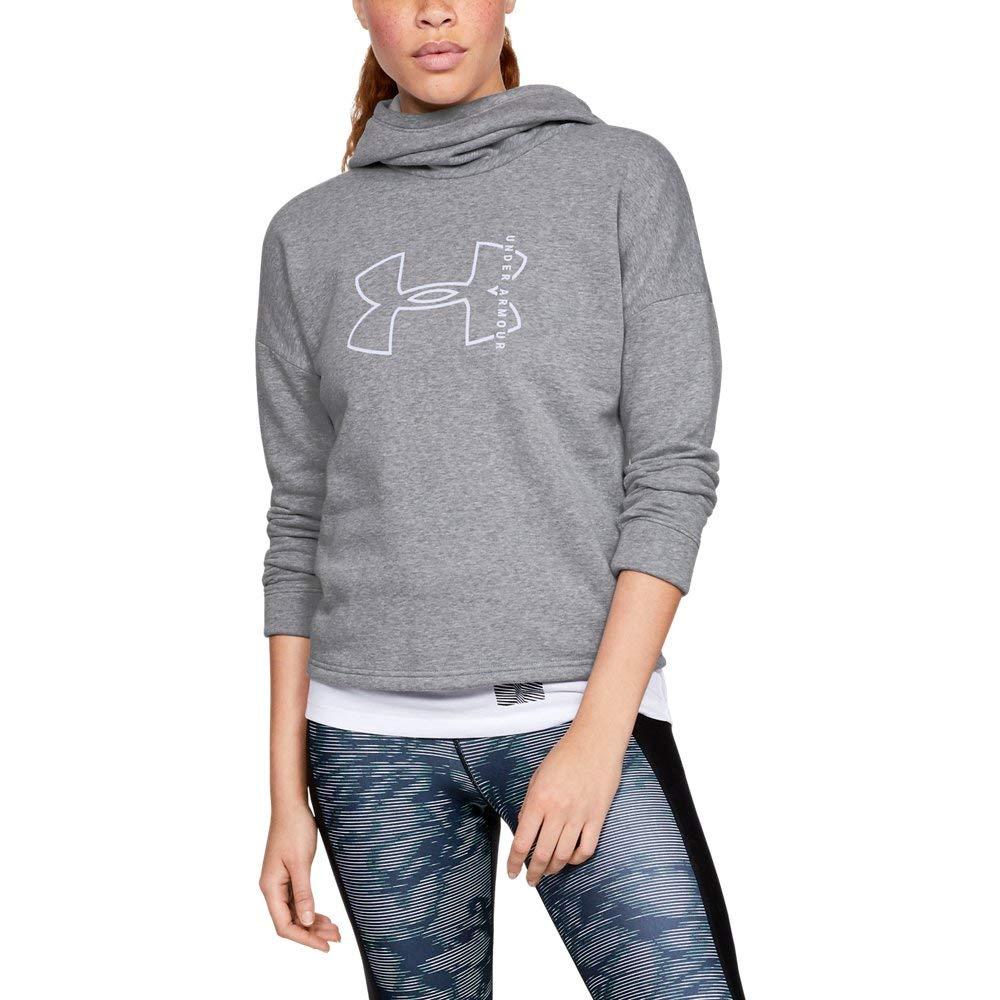 Under Armour Women's Rival Fleece Big logo hoodie, Steel Light Heather (035)/White, X-Small