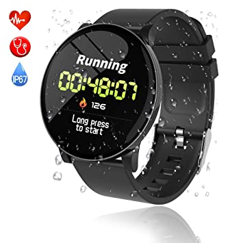 Reloj Inteligente,Smartwatch Pulsera Actividad Inteligente Impermeable IP68 Pantalla Color Pulsera Podómetro con Pulsómetro, Monitor de Calorías ...