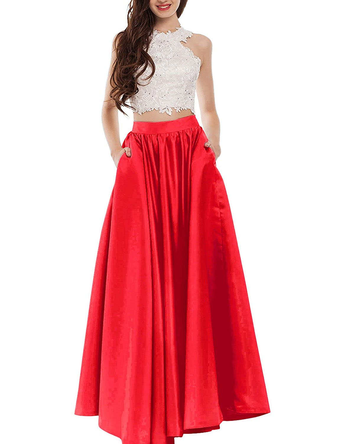 Amazon.com: Callmelady Two Piece Long Prom Dresses for Women with ...