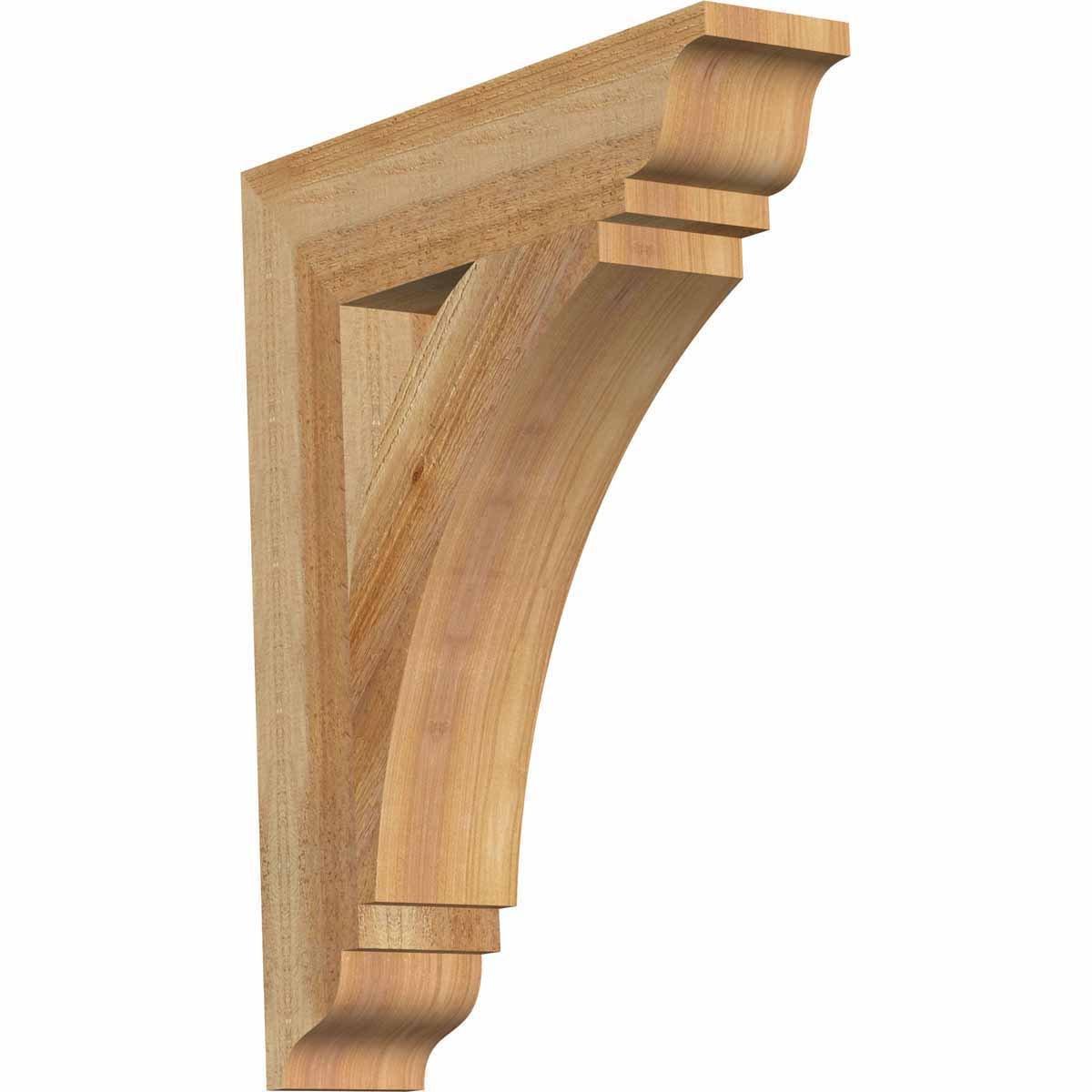 Ekena Millwork BKT04X18X22THR01RWR Thorton Traditional Rough Sawn Bracket, 4'' Width x 18'' Depth x 22'' Height, Western Red Cedar