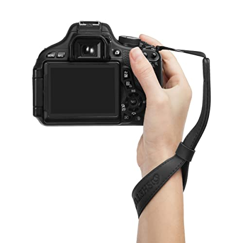 Woodmin Genuine Leather Camera Wrist Strap for DSLR Cameras Canon Fuji Nikon Olympus Panasonic Pentax Sony Cameras (Black)