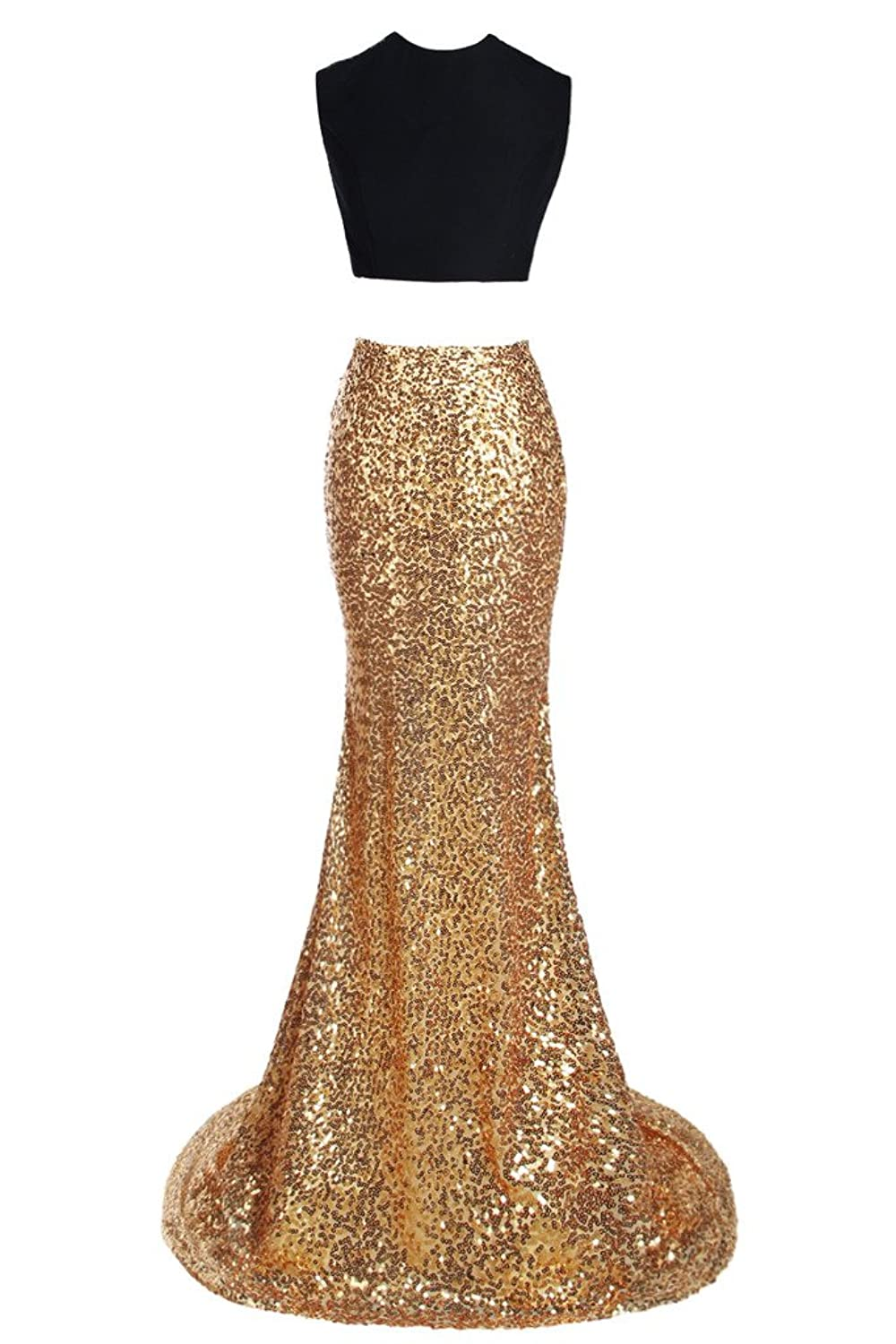 Ellames Two Pieces Prom Dress Mermaid Evening Party Dress Gold Sequins