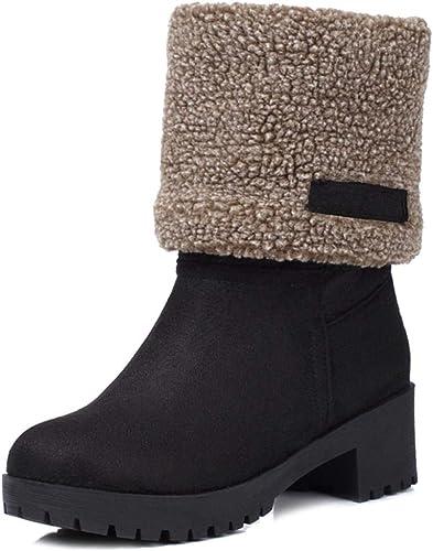 DoraTasia Womens Winter Warm Fur Buckle Short Boots Solid Color Chunky Heel Mid Calf Warm Snow Boots