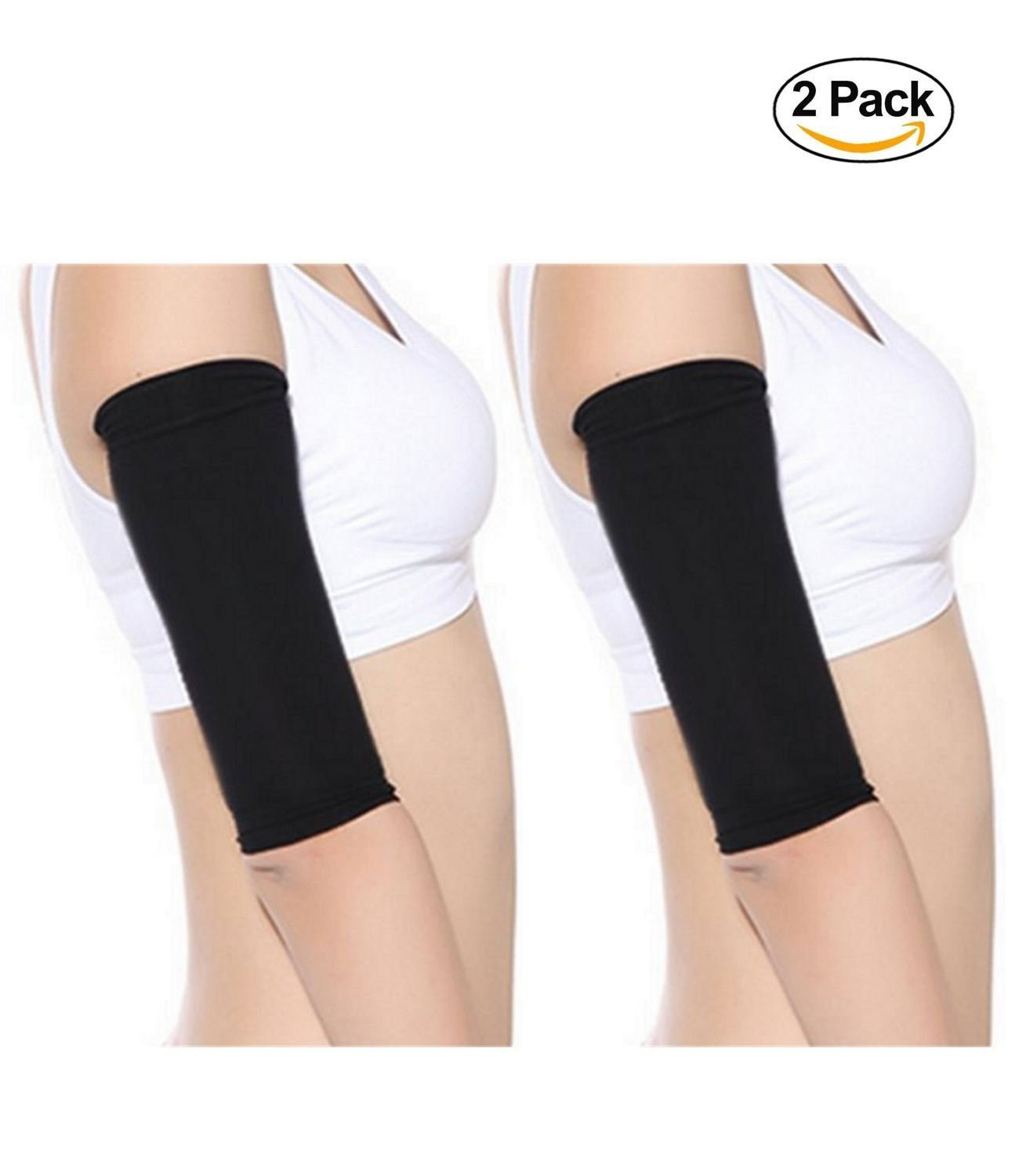 Starmace 2 Pack Slimming Arms Shaping Tone Energize Upper Arm Compression RV Sun Protection Support Sleeves (LRG, Black)