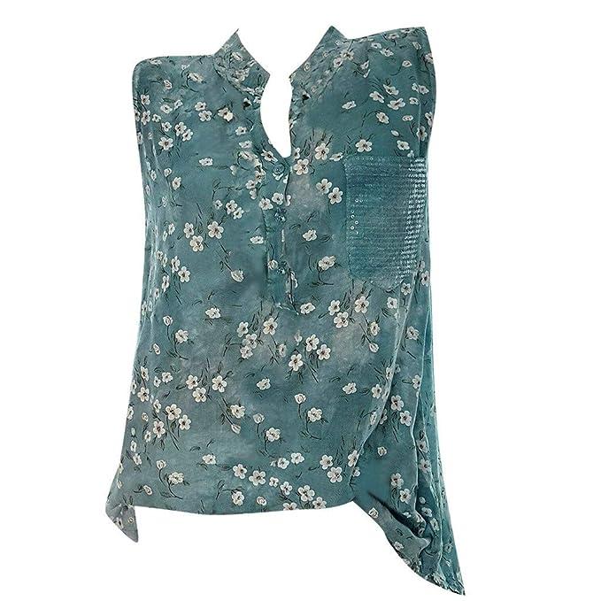 2d831e73b8850d AmyGline Oberteile Damen Bluse Casual Elegant Ärmellos Knopf Drucken  T-Shirt Tank Tops Freizeitbluse Sommerblusen Hemden Shirt: Amazon.de:  Bekleidung