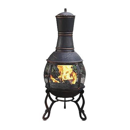 Mari Garden Aragon - Chimenea de hierro fundido, 89 cm, brasero, calefactor para