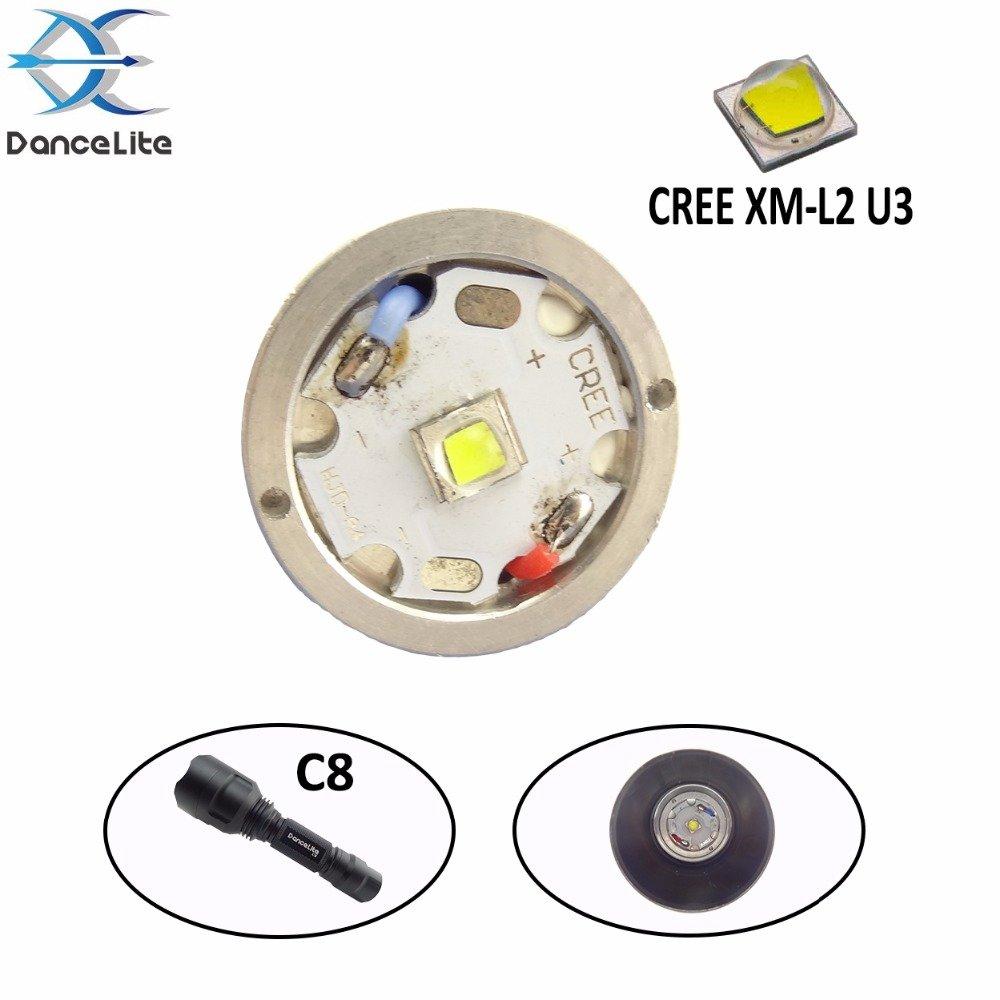 1 Modus, Silber: 1 x CREE XM-L2 U3 10 W 6500 K weißes Licht LED-Modul Drop-in für C8 LED-Taschenlampe (C8 Taschenlampenteile)