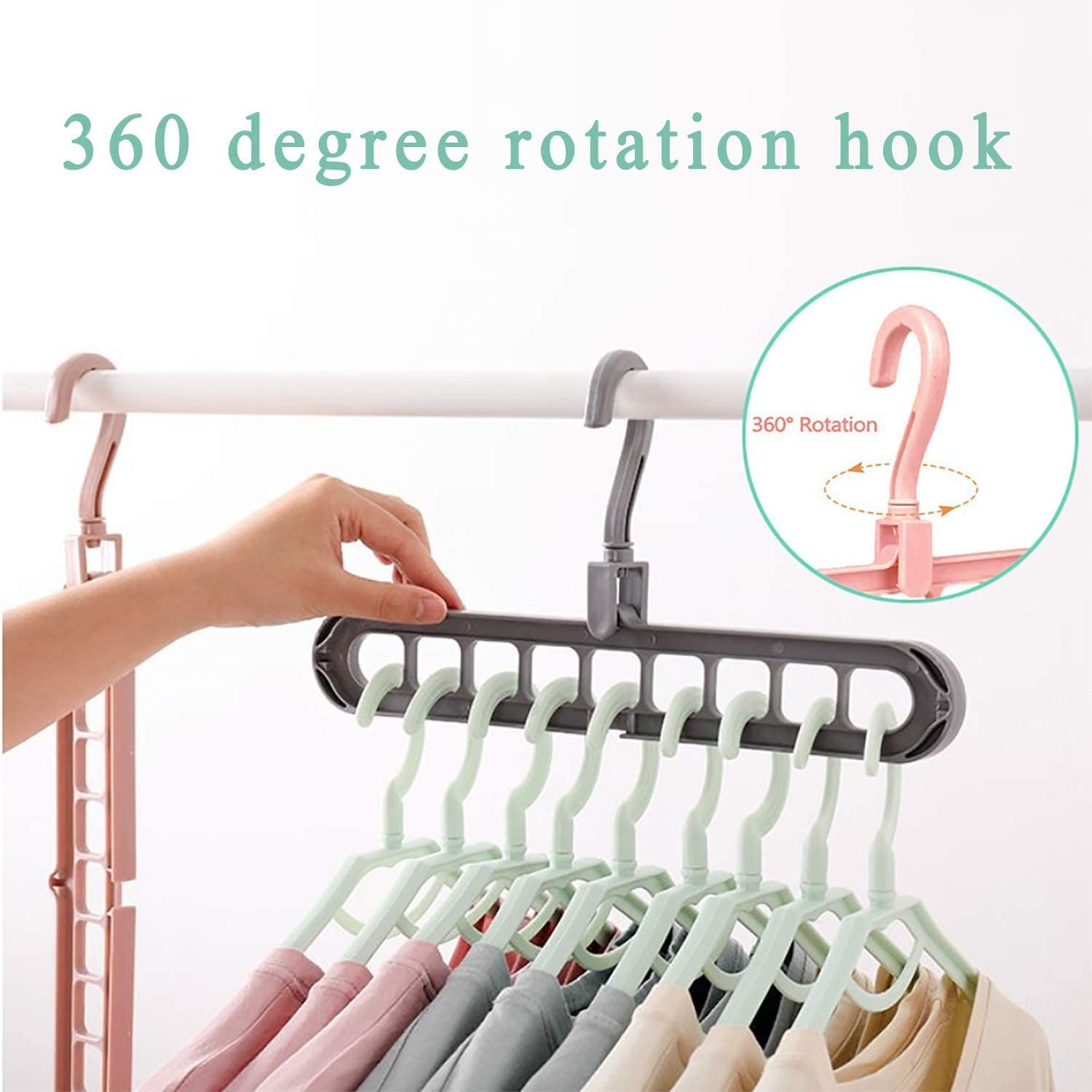 non-slip space saver hangers plastic clothes hangers rotate anti-skid folding hanger scarf clothes hangers mixcolor-10 Pack Happylohas hangers space saving for Drying and Storage,