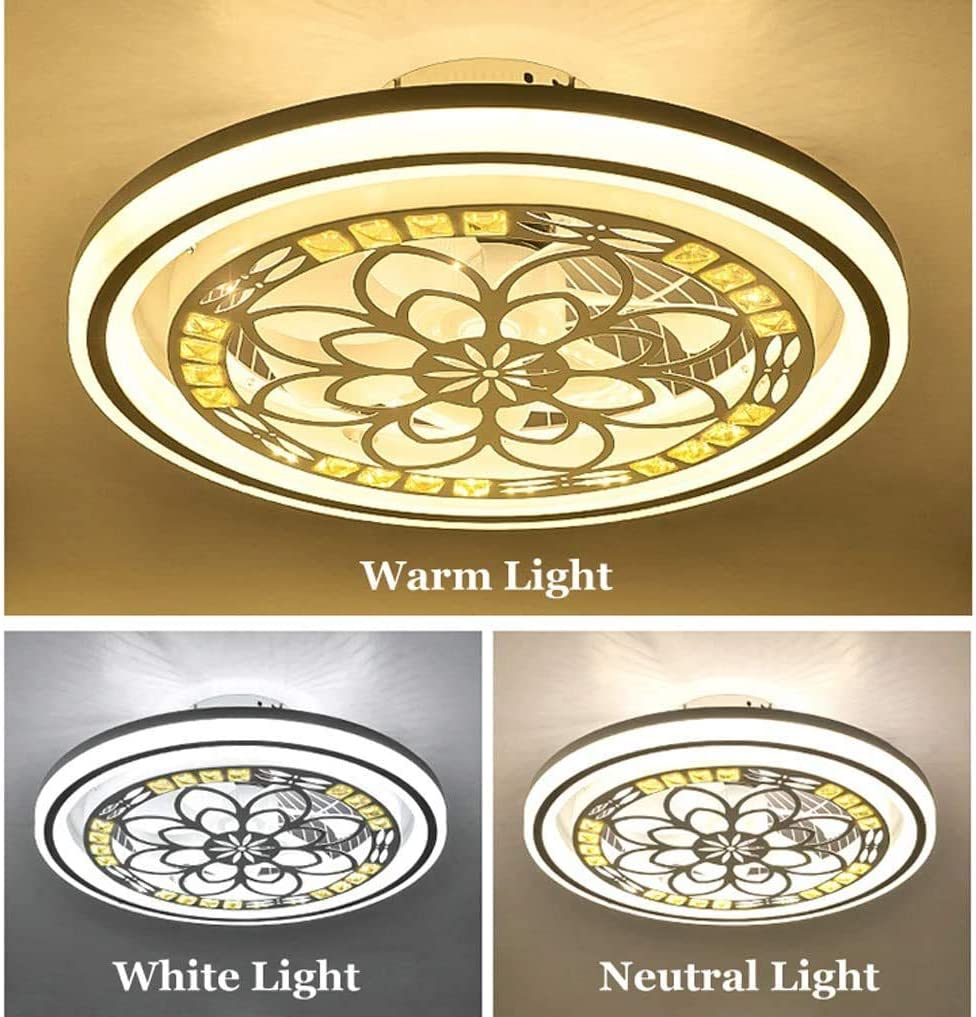 OUJIE Deckenventilator Mit Beleuchtung, Ventilator LED-Licht, Justierbare Windgeschwindigkeit, Fernbedienung Dimming, Schlafzimmer Wohnzimmer 72W Moderne LED-Deckenleuchte,2 2