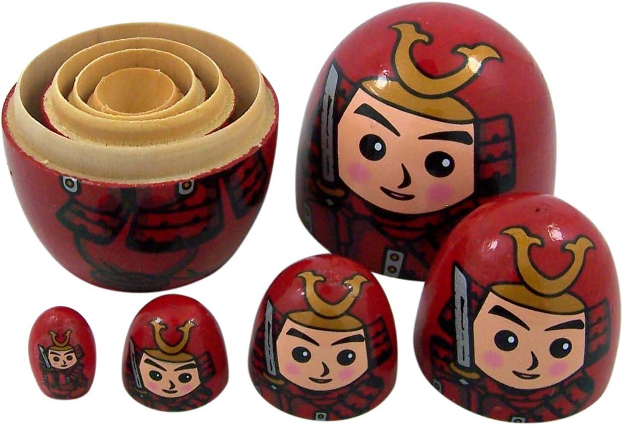 Red Japanese Samurai Wooden Stacking Matryoshka Nesting Dolls 5 Piece Set Toy