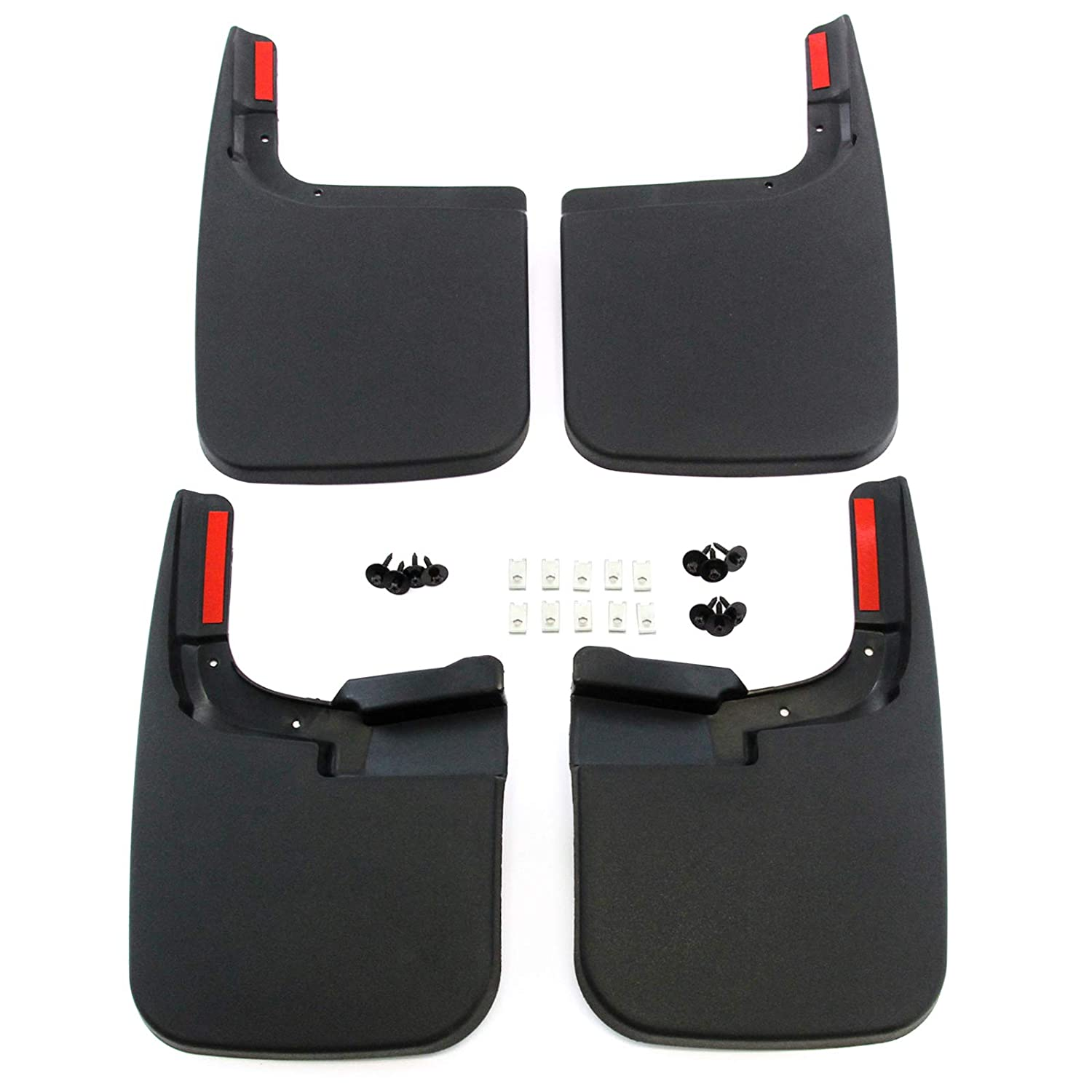 Red Hound Auto Compatible with Ford (2017-2019 F-250/F-350 Super Duty) Mud Flaps Splash Guards Front and Rear Molded 4pc Full Set (for Vehicles Without Fender Flares)