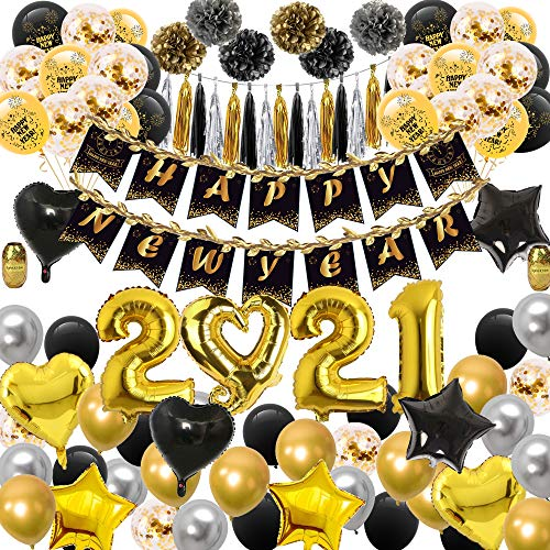 Graduation Party Supplies - Graduation Decorations 2021 Pack, Graduation Balloon Pack, Including 50 Latex Balloons, 15 Confetti Balloons, 8 Foil Ballons, 2021 Balloons, 6 Pom Poms, a Graduation Banner, 2 Gold Ribbon and 15 Tissue Tassels Garland