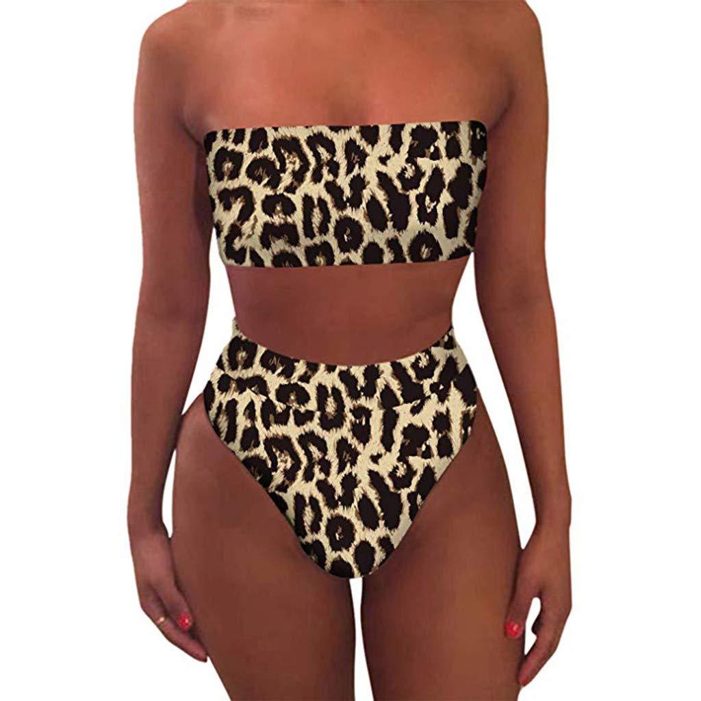 XINDEEK Women Sexy Leopard Bikini Set High Waist Wrap Padded Bandeau Bathing Swimwear(Yellow, S)