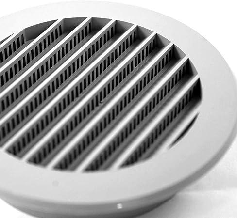 Klimapartner WSK 100 mm Plastique Grille de Ventilation Plate Ronde Avec Moustiquaire Gris