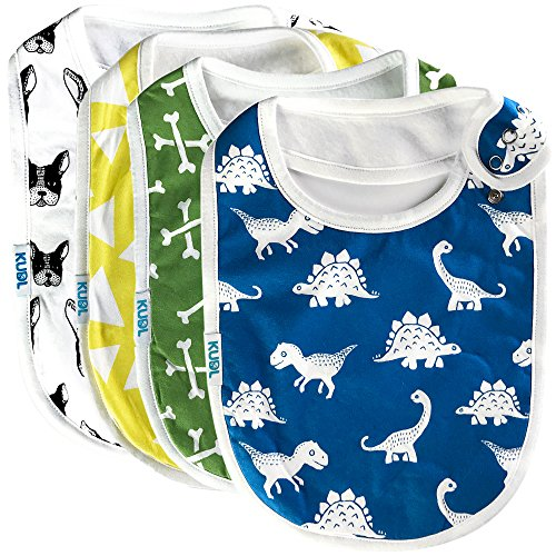 Premium Cute Baby Toddler Bibs Burp Burpy Cloths 4 Pack Gift Set Soft Absorbent Extra LARGE Feeding Drool Teething Bibs,Triple Adjustable Snap Buttons, Chomper Puppy Dinosaur Designs for Boys & (Infant Bright White Apparel)