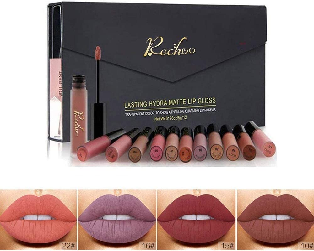 Rechoo 12 Pcs Barra de Labios Mate/Superstay Matte Pintalabios Maquillaje de Belleza Brillo Labial Terciopelo