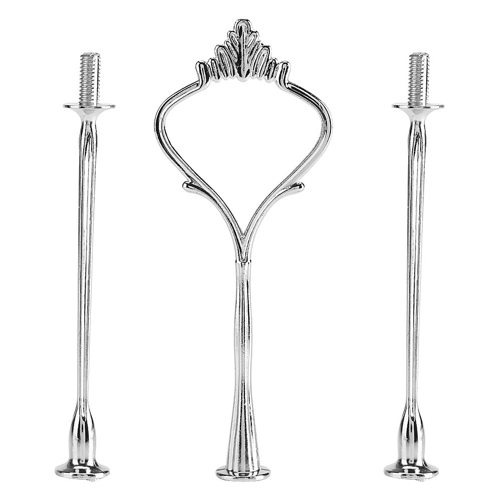Anniversary or Daily Use 2-Tiers Crown Gold Asixx Cake Stand Multi-Tiers Cake Cupcake Tray Stand Handle Fruit Plate Hardware Fitting Holder for Birthday Party Cake Stand Handles