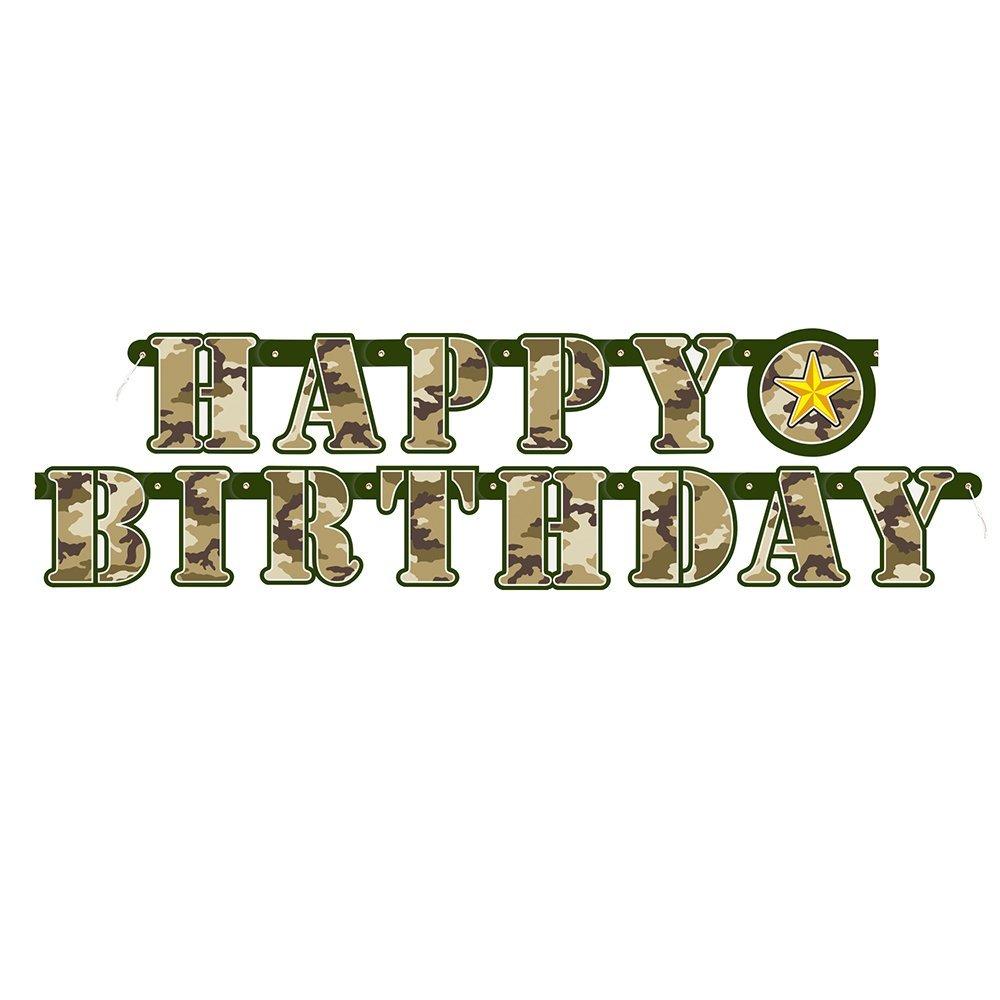 Unique Party Guirnalda de Letras de Cumpleaños Fiesta de Camuflaje Militar, Color Verde, 1,6 m (48538)