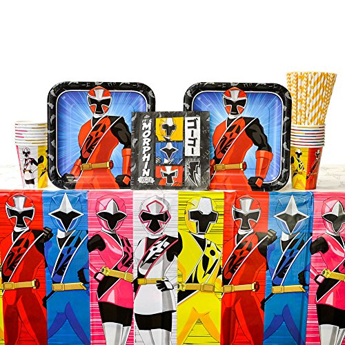 Power Rangers Ninja Steel Birthday Party Supplies Pack for 16 Guests | Straws, Lunch Plates, Luncheon Napkins, Cups, and Table Cover | Perfect Addition To Power Rangers Birthday Party Decorations -