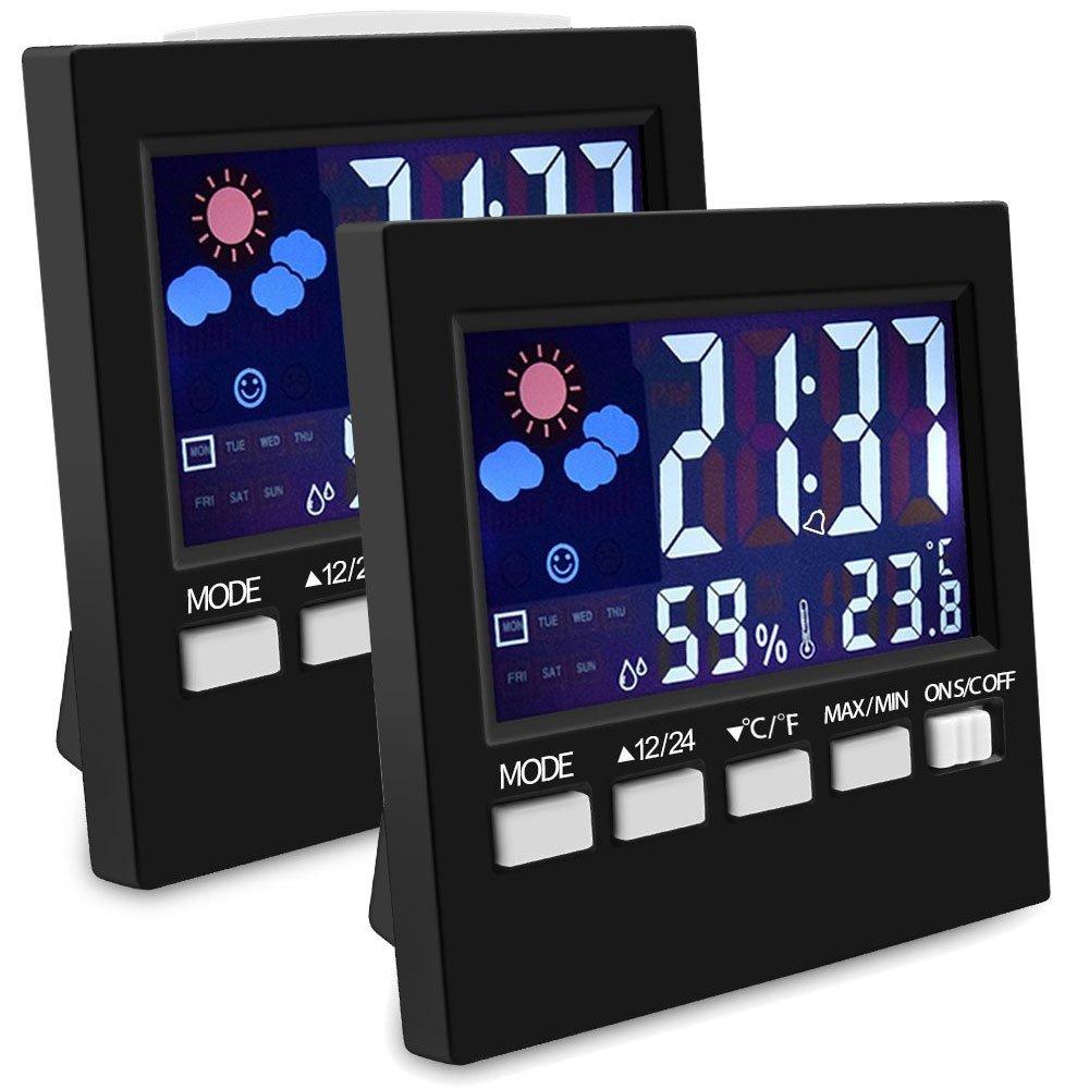 EEEKit Indoor Thermometer With Digital Hygrometer, 2-pack Color Digital LCD Display Hygrometer Humidity Monitor Sensor Room Multifunctional Humidity Gauge With Alarm Clock/Thermomete