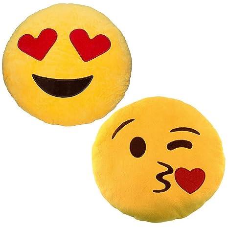 JZK 2 x Cojín Emoji Golpe Beso + cojín Emoji Amor Corazon Ojos Almohada Emoji Emoticon Relleno Suave Juguete de Peluche