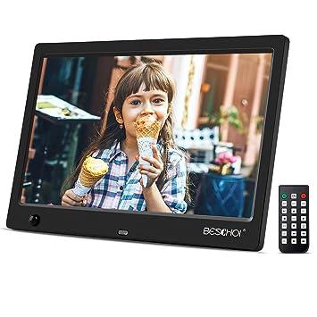 Beschoi Marco Digital para Fotos y Vídeos 10 Pulgadas Pantalla LCD, Marco de Fotos Digital
