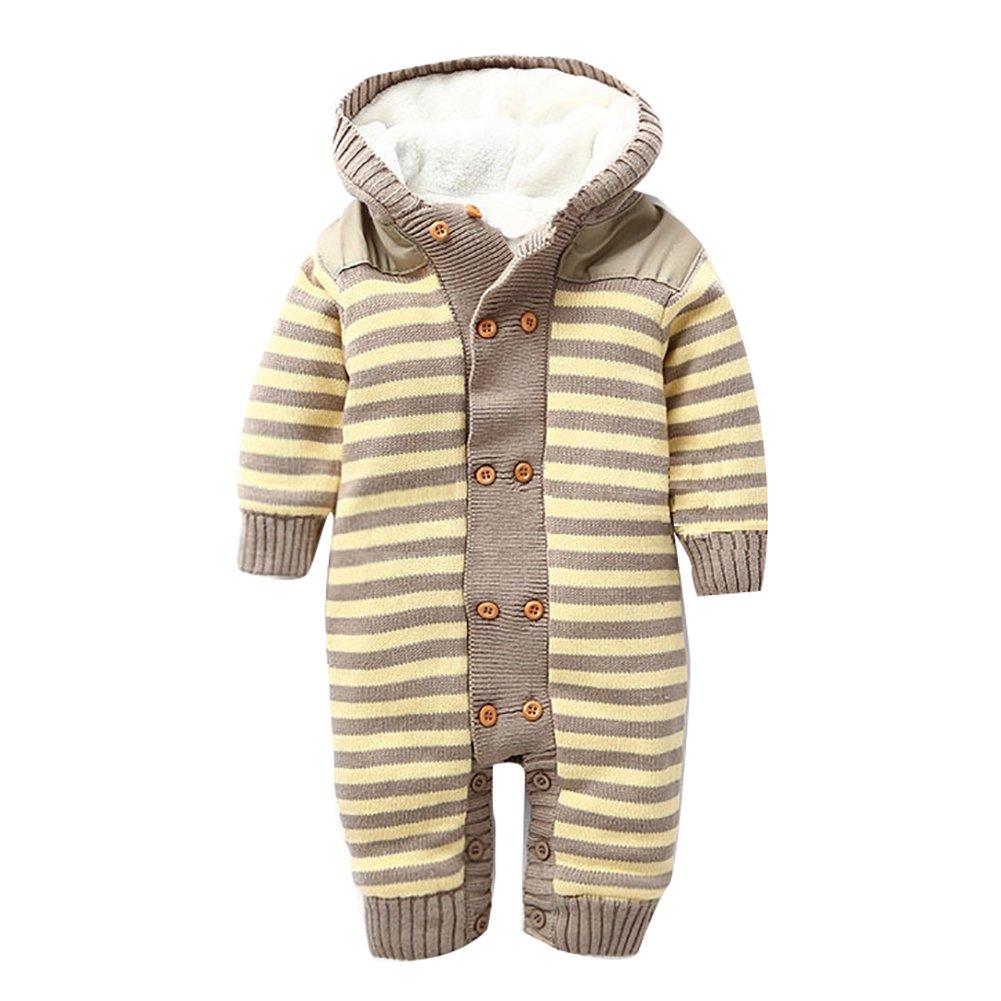 Free Fisher Baby Overall Strick getreift mit Kapuze, Beige, Gr. 80/86, (Herstellergröße:2A) CS0492C/2A