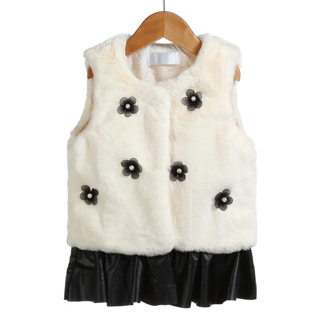 Plush Stitching Cotton Vest,Hongxin Kid Baby Girls Flowers Faux Fur Waistcoat Thick Coat Splice Outwear Clothes (4T, Beige)