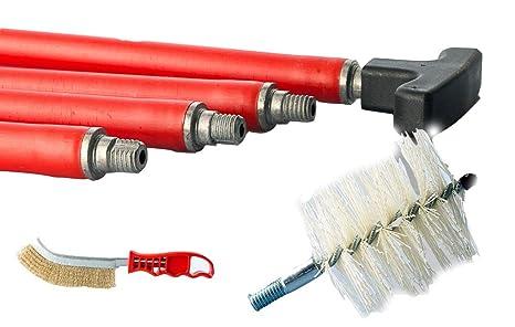 Kit deshollinador de chimeneas: 10 Cañas + Escobillón de 100 mm, de nailon, para la limpieza de chimeneas, conductos de humo, estufas de pellets: Amazon.es: ...