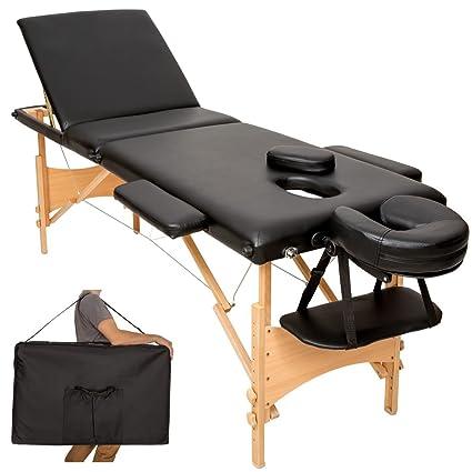 TecTake Mobile Massageliege 3 Zonen höhenverstellbar inkl. hochwertiger Kopfstütze + Tasche - diverse Farben - (Schwarz | Nr.