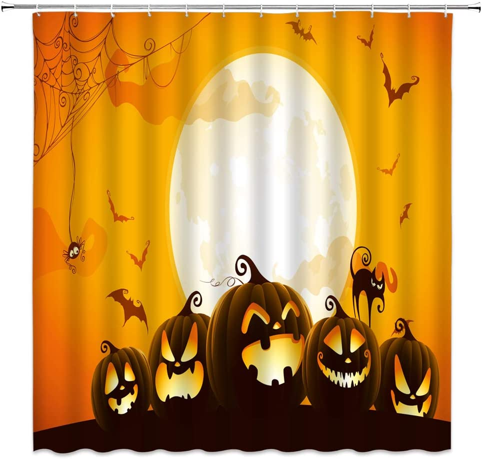 Lileihao Halloween Shower Curtains Decoration Pumpkin Lantern Bat Spider Black Cat Moon Scary Night Bathroom Decor Polyester Fabric Home Bath Accessories Cloth Curtain Set 69 x 70 Inch Includes Hooks