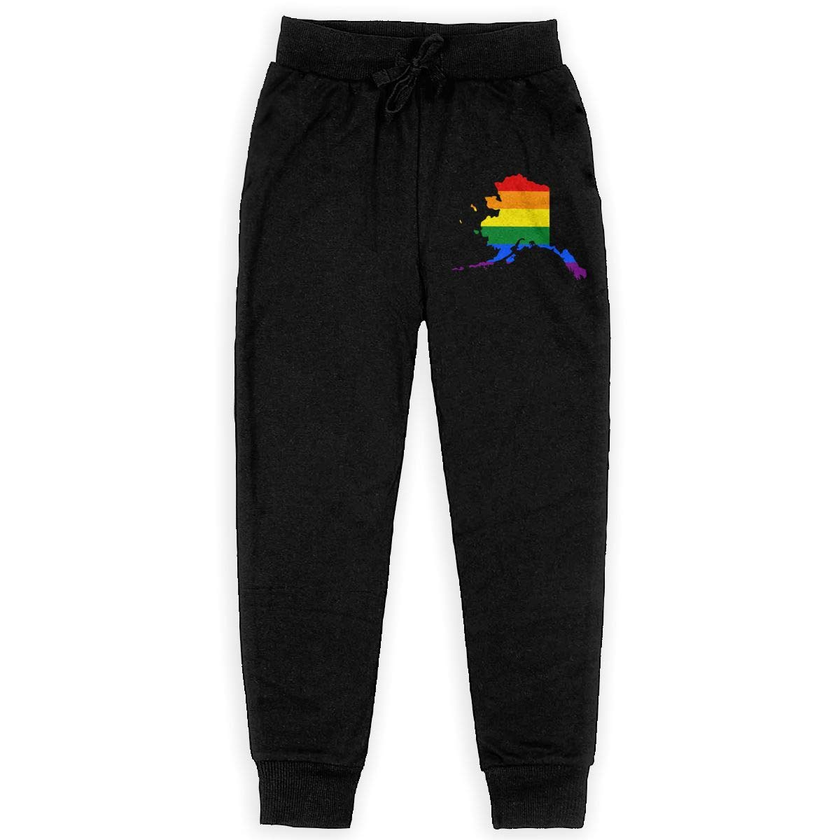 Alaska Rainbow Flag Teen Sweatpants Boys Jogger Pants Boys Fleece Pants Black