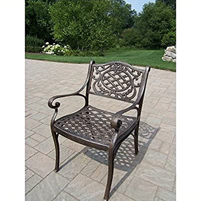 Oakland Living Mississippi Cast Aluminum Arm Chair, Antique Bronze - Rust Free Cast Aluminum Construction Hardened Powder Coat Finish in Antique Bronze for Years of Beauty Easy to Follow Assembly Instructions and Product Care Information - patio-furniture, patio-chairs, patio - 61VOsaiTxAL. SS400  -