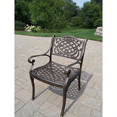 Oakland Living Mississippi Cast Aluminum Arm Chair, Antique Bronze (Aluminum Cast Patio Sling Furniture)