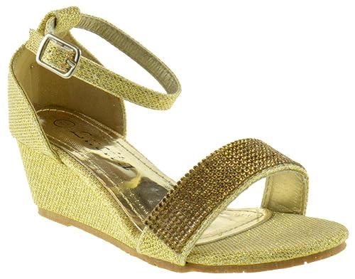 30031d7948ce KOS-005KM Little Girls Rhinestone Wedge Strap Dress Sandals Gold 9
